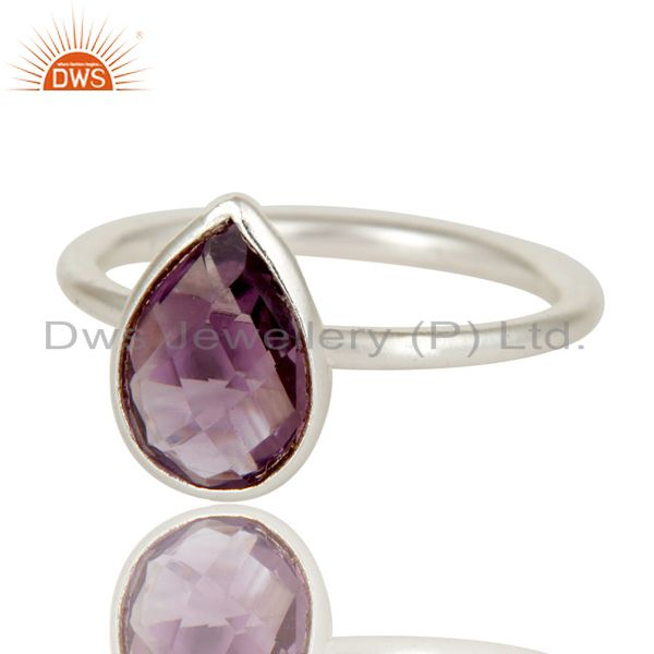 Wholesalers Solid 925 Sterling Silver Natural Amethyst Pear Shape Gemstone Stackable Ring