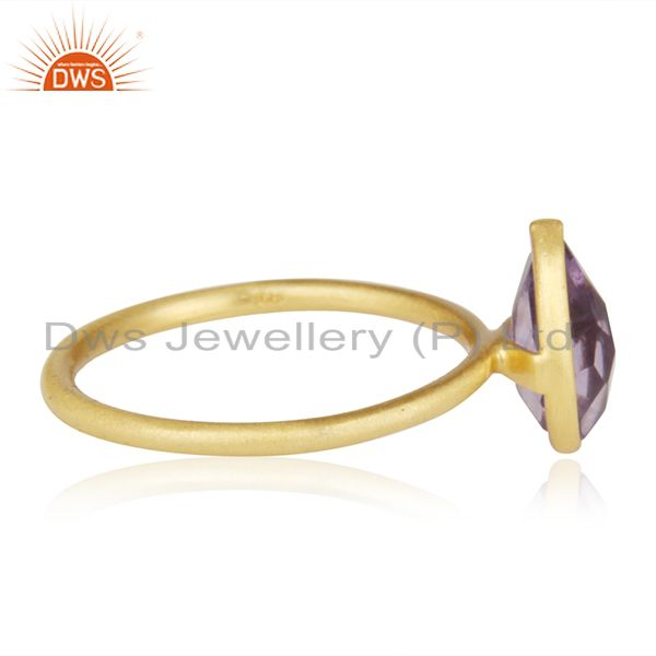 Wholesalers 18K Yellow Gold Plated Sterling Silver Amethyst Bezel Stacking Ring