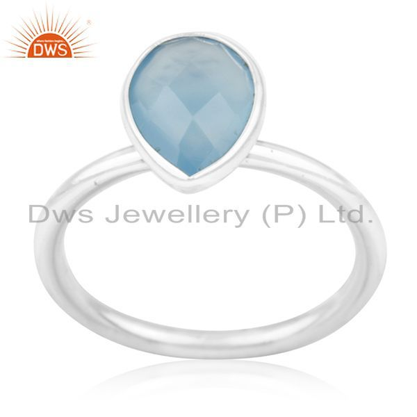 Exporter Blue Chalcedony Gemstone 925 Silver Handmade Ring Manufacturer for Private Label