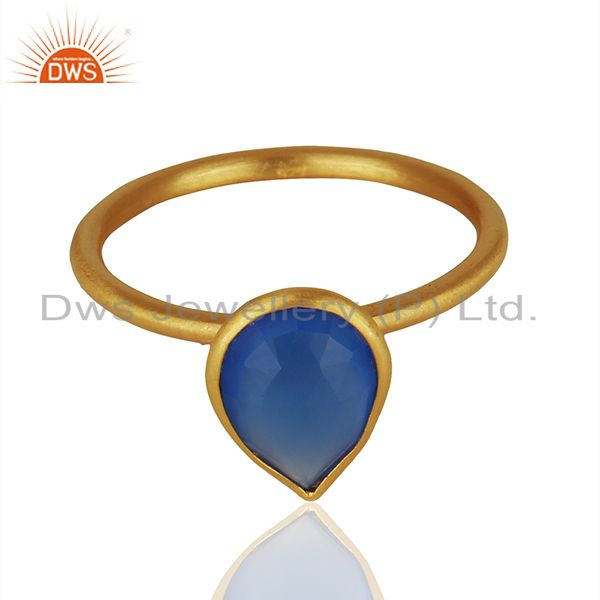 Exporter Blue Chalcedony Gemstone Gold Plated 925 Silver Stackable Ring Jewelry