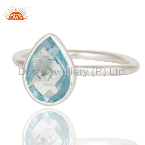 Wholesalers 925 Sterling Silver Natural Blue Topaz Pear Shape Gemstone Stack Ring