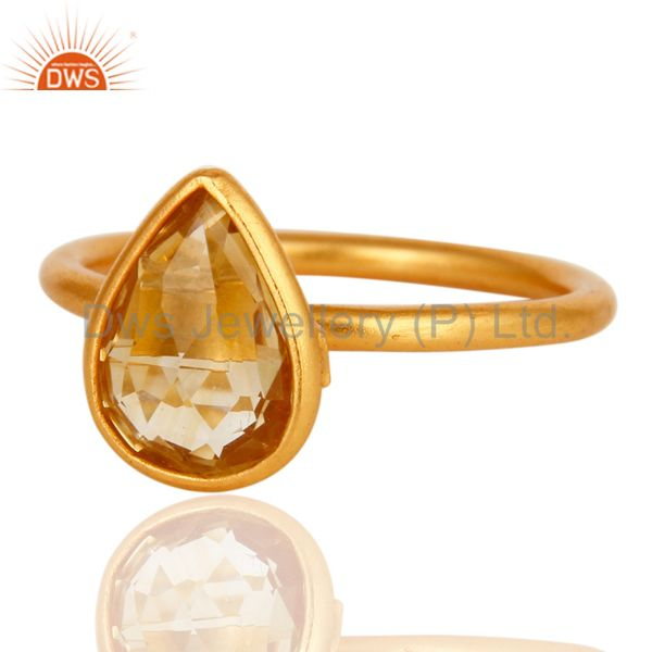 Wholesalers 18K Yellow Gold Plated Sterling Silver Natural Citrine Gemstone Ring