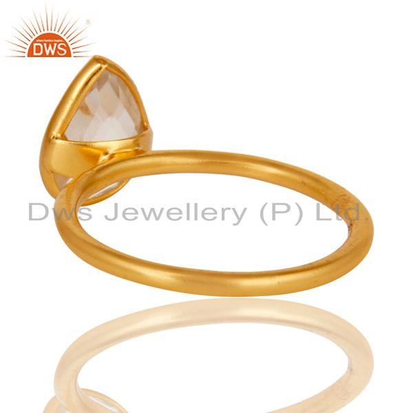 Wholesalers 18K Gold Plated 925 Silver Natural Crystal Quartz Pear Shape Gemstone Stack Ring
