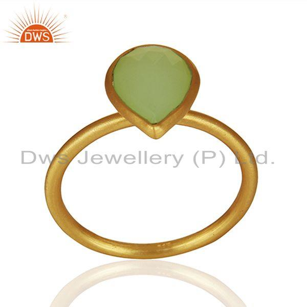 Exporter Prehnite Chalcedony Gemstone Gold Plated Silver Ring Jewelry Supplier