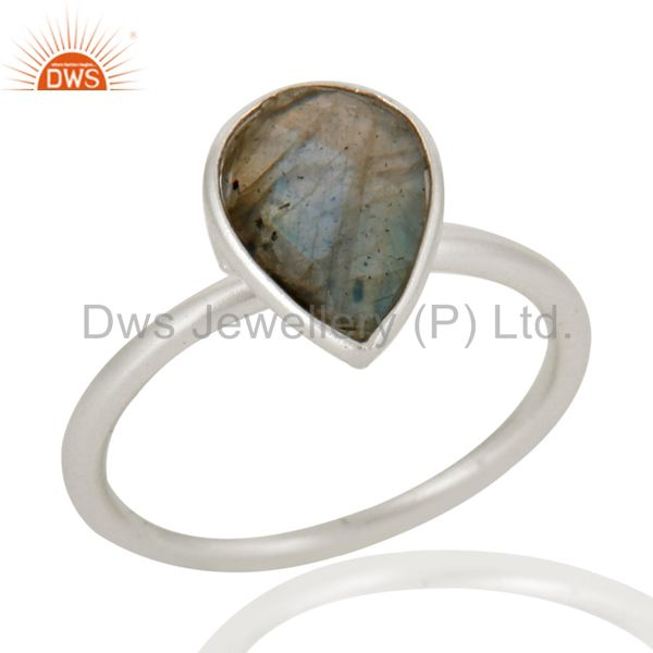 Wholesalers 925 Solid Sterling Silver Labradorite Gemstone Bezel Set Drop Ring