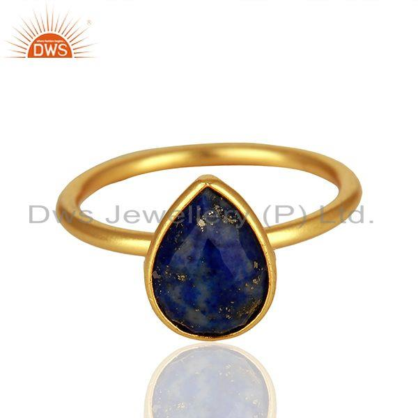Exporter 18K Yellow Gold Plated Sterling Silver Lapis Lazuli Gemstone Drop Stackable Ring