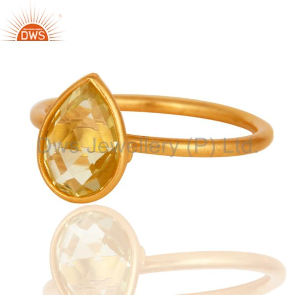Wholesalers 18K Yellow Gold Plated Sterling Silver Natural Lemon Topaz Bezel Gemstone Ring