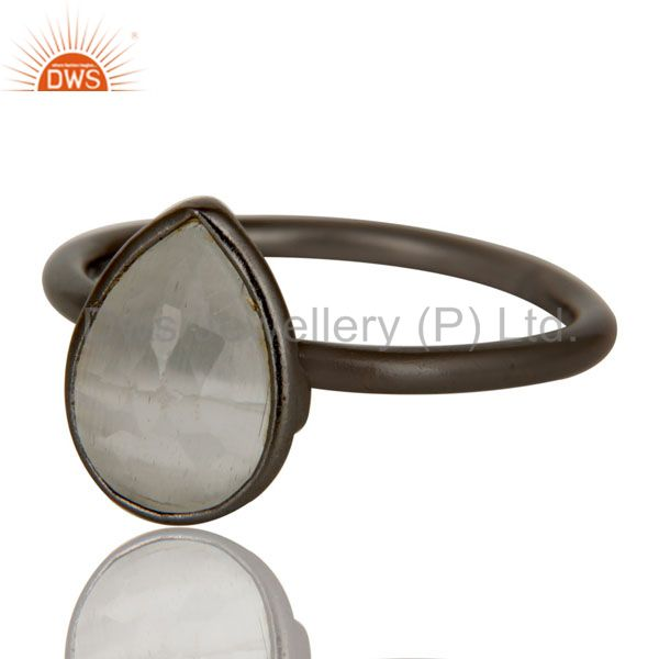 Wholesalers Oxidized Sterling Silver White Moonstone Bezel Set Drop Stacking Ring