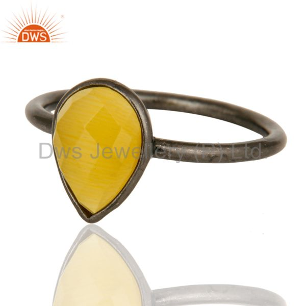 Wholesalers Black Rhodium Plated Sterling Silver Yellow Moonstone Bezel Set Drop Ring