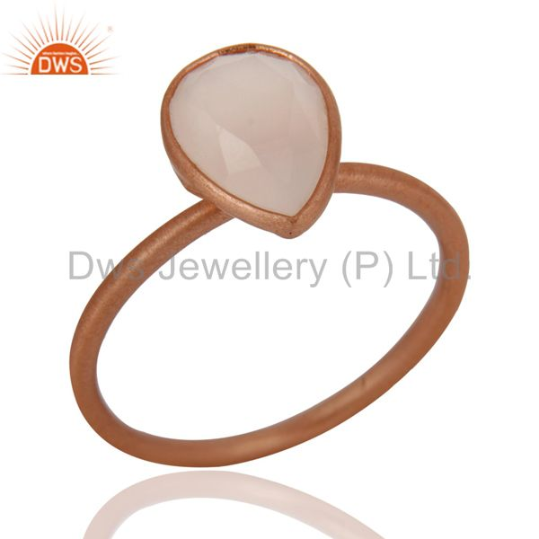 Wholesalers 18K Rose Gold Plated Sterling Silver Rose Chalcedony Drop Stackable Ring