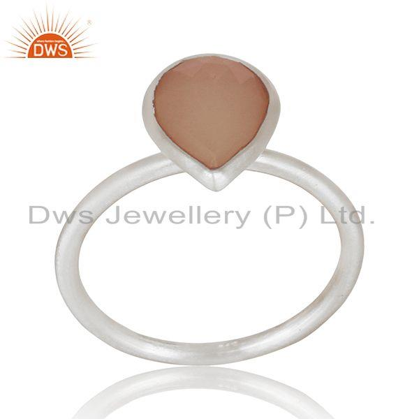 Exporter Indian Sterling Silver Rose Chalcedony Gemstone Ring Jewelry