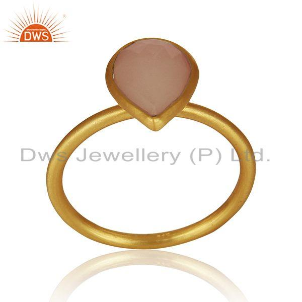 Exporter Yellow Gold Plated 925 Silver Rose Chalcedony Gemstone Ring Jewelry Manufacturer
