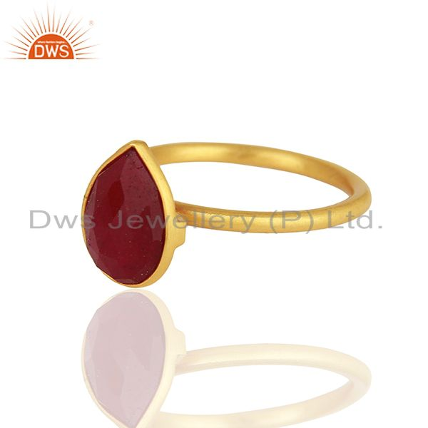 Exporter Ruby Red Gemstone Gold Plated 925 Silver Rings Jewelry Manufacturer