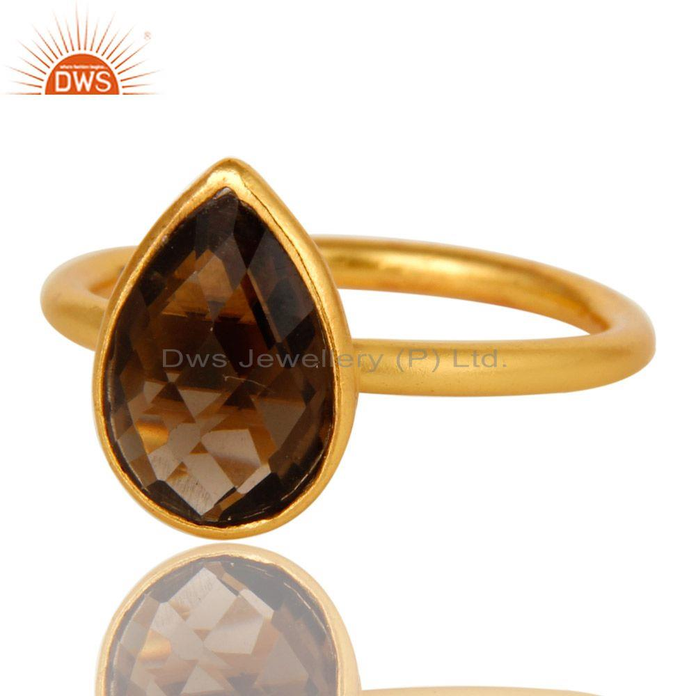 Wholesalers 18K Yellow Gold Plated Sterling Silver Smoky Quartz Bezel Set Stackable Ring