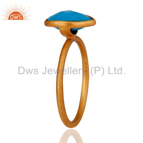 Wholesalers Turquoise Gemstone Sterling Silver Stacking Ring With Yellow Gold Plated