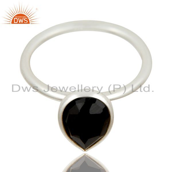 Exporter Handmade Solid 925 Sterling Silver Black Onyx Bezel Set Stackable Ring Jewelry