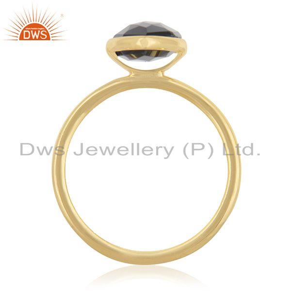 Exporter Black Onyx Gemstone 925 Sterling Silver Gold Plated Ring Manufacturer from India