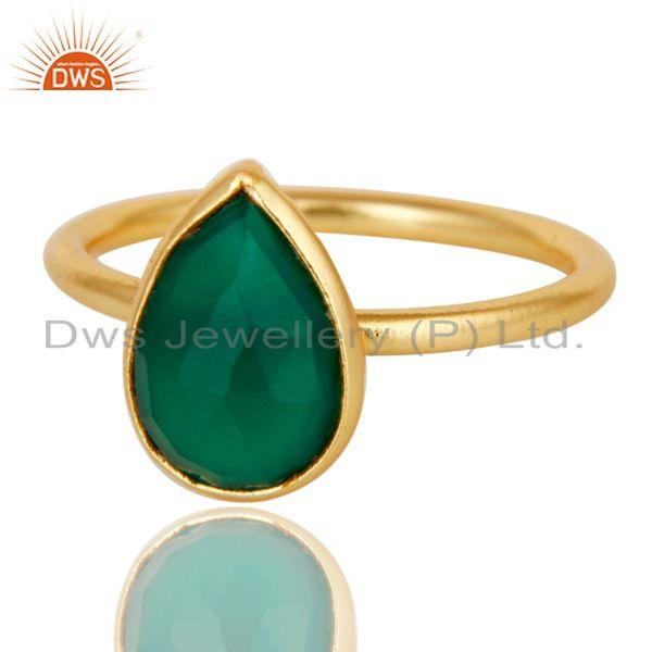 Wholesalers 18K Yellow Gold Plated Sterling Silver Green Onyx Pear Stackable Ring