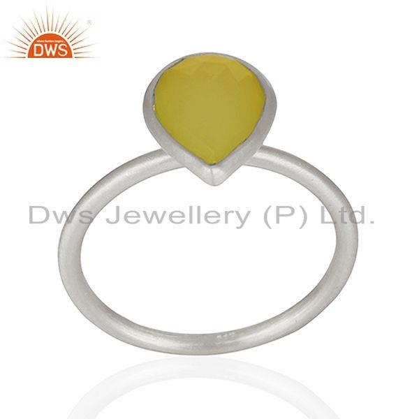 Exporter Wholesale 925 Sterling Silver Yellow Chalcedony Gemstone Ring Jewelry