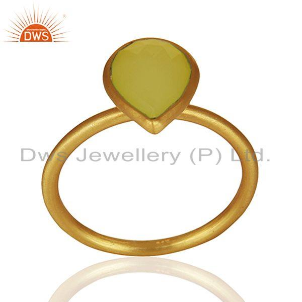 Exporter 925 Silver Golod Plated Yellow Chalcedony Gemstone Ring Jewelry