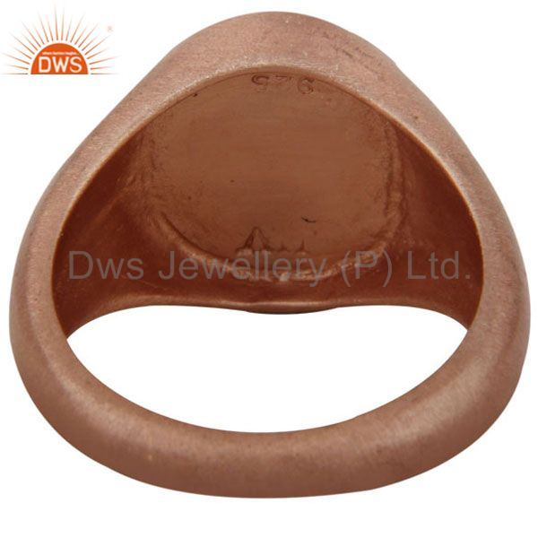 Suppliers 18k Rose Gold Plated Sterling Silver Peace Sign Mens Ring