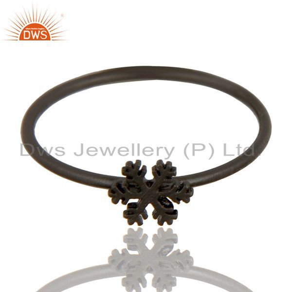 Exporter Black Oxidized 925 Sterling Silver Handmade Art Fashion Stackable Ring Jewelry