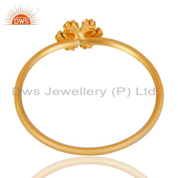 Exporter 14K Yellow Gold Plated 925 Sterling Silver Handmade Art Fashion Stackable Ring