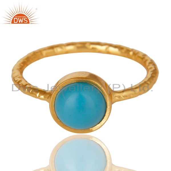 Exporter 14K Yellow Gold Plated 925 Sterling Silver Handmade Turquoise Stackable Ring
