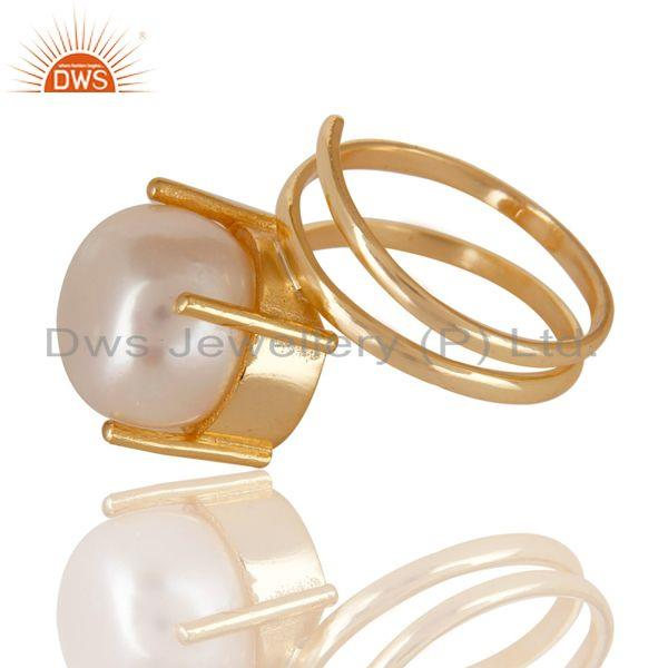 Exporter 14K Yellow Gold Plated Beautiful Handmade Design Pearl Stackable Brass Ring