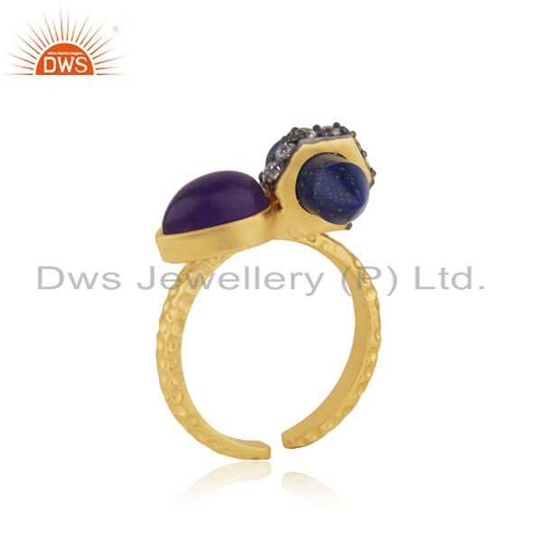 Exporter Gold Plated CZ Gemstone Gold Plated Fashion Rings Supplier Jewelry