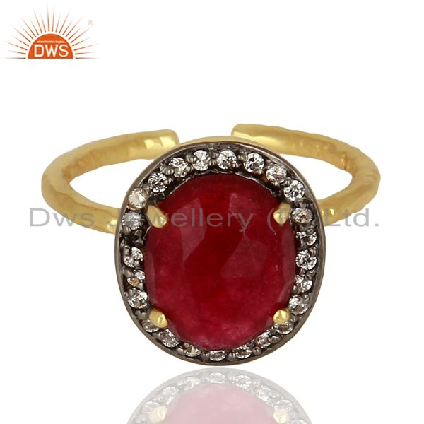 Exporter Red Avnturine Gemstone CZ Gold Plated Brass Fashion Ring Supplier