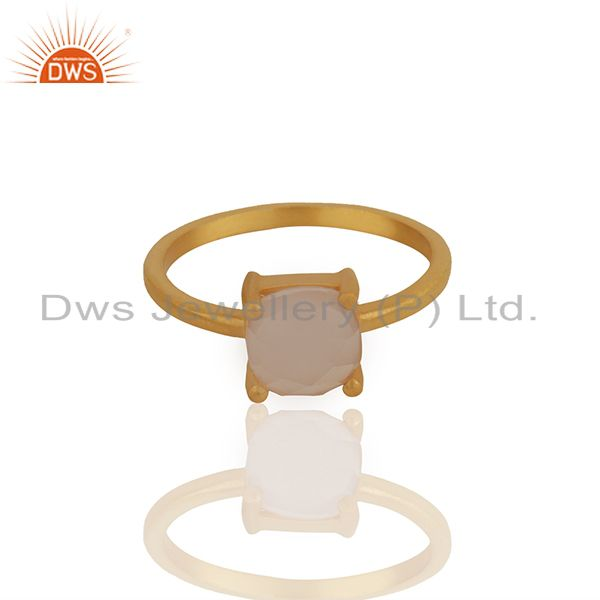 Exporter Rose Chalcedony Gemstone Gold Plated 925 Silver Rings Manufacturer