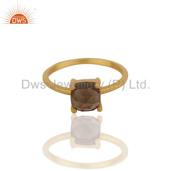 Exporter Smoky Quartz Gemstone 925 Silver Gold Plated Rings Manufacturers