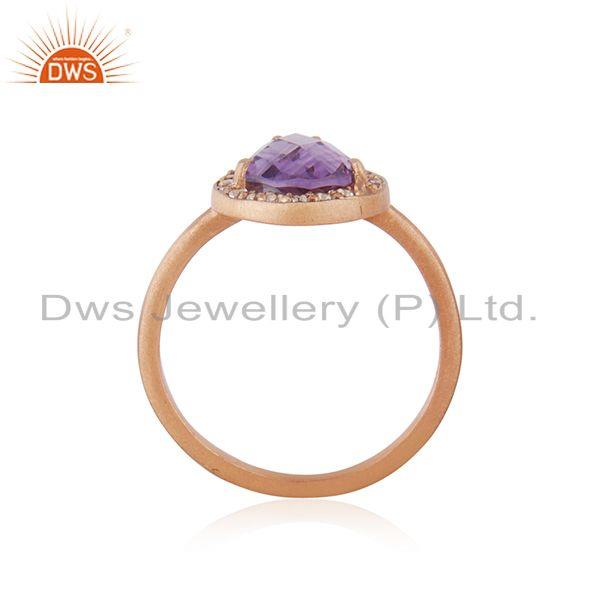 Exporter Rose Gold Plated 925 Silver Topaz Amethyst Gemstone Ring Jewelry