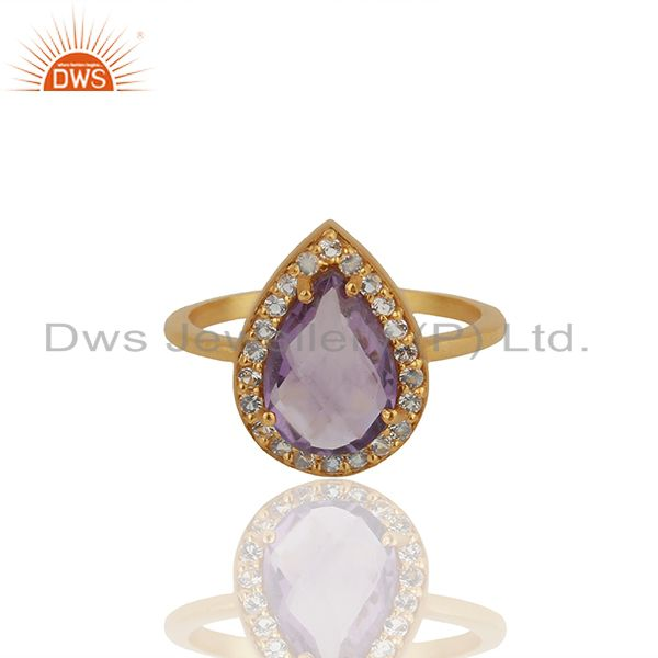 Exporter Pear Shape Amethyst Birthstone White Topaz 925 Silver Gold Plated Ring