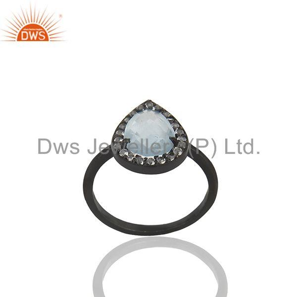 Exporter Blue and White Topaz Black Sterling 925 Silver Ring Manufacturer