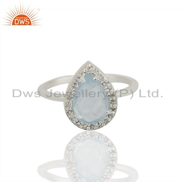 Exporter Blue and White Topaz Solid 925 Sterling Silver Promise Rings Jewelry