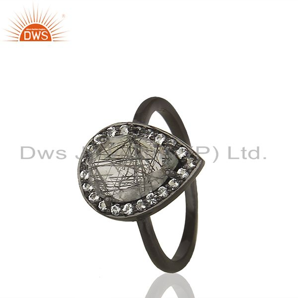 Exporter Black Rutile Quartz Gemstone 925 Sterling Silver Girls Rings Jewelry