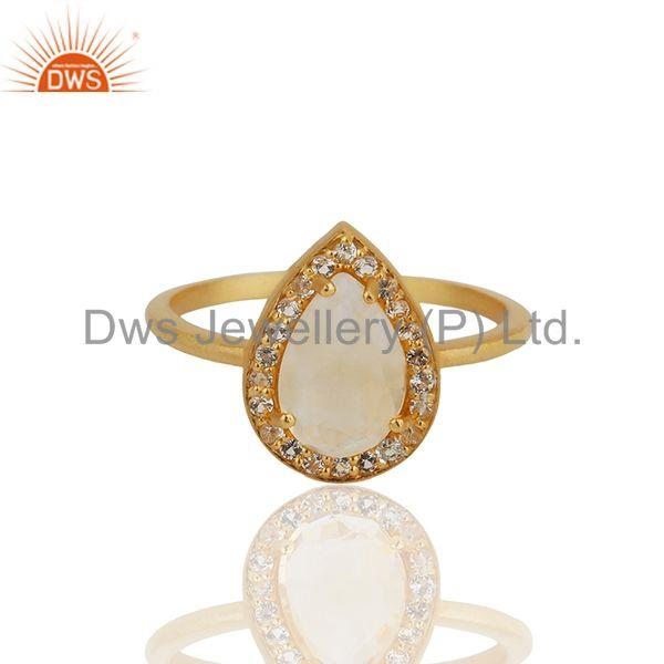 Exporter Pear Shape Crystal Quartz Gold Plated 925 Silver Girls Ring Wholesale