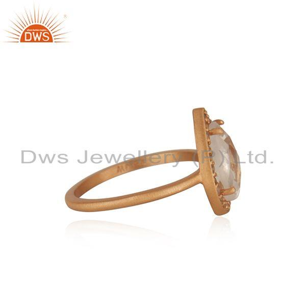 Exporter White Topaz and Crystal Quartz Rose Gold Plated Silver Ring Manufacturer India