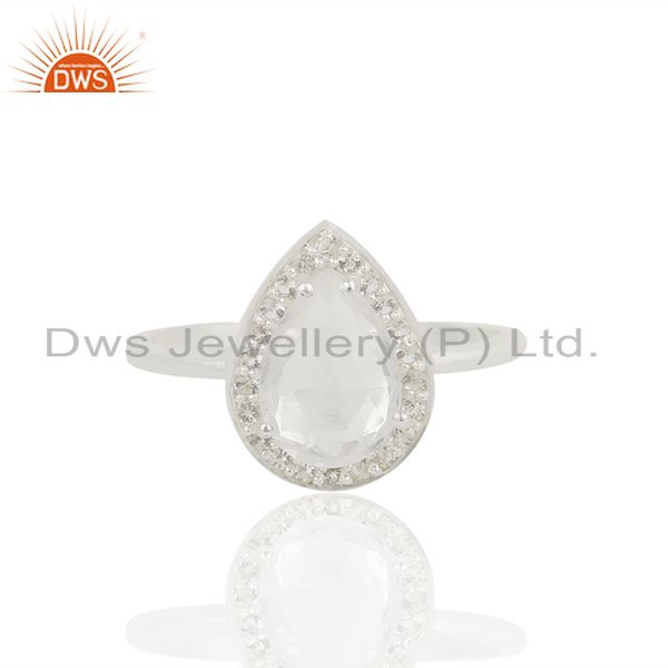 Exporter Clear Crystal and White Topaz 925 Fine Silver Ring Jewelry Wholesale