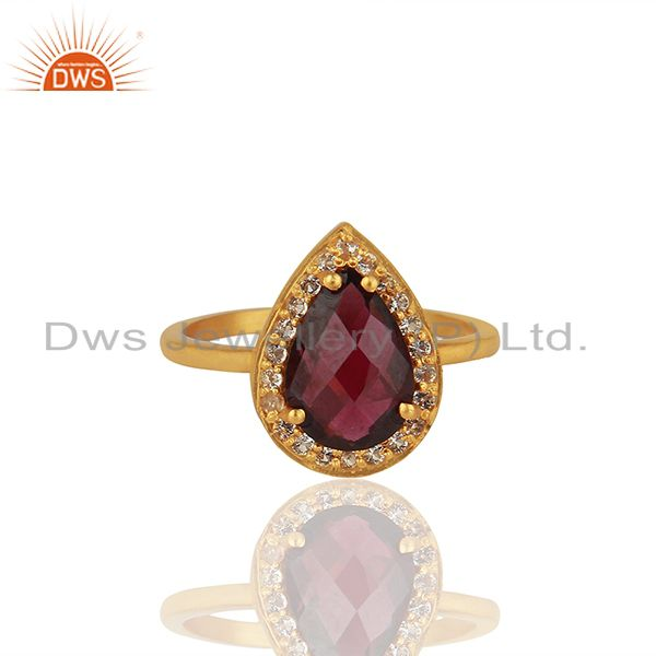 Exporter Natural Garnet and White Topaz Gemstone Gold Plated Silver Rings