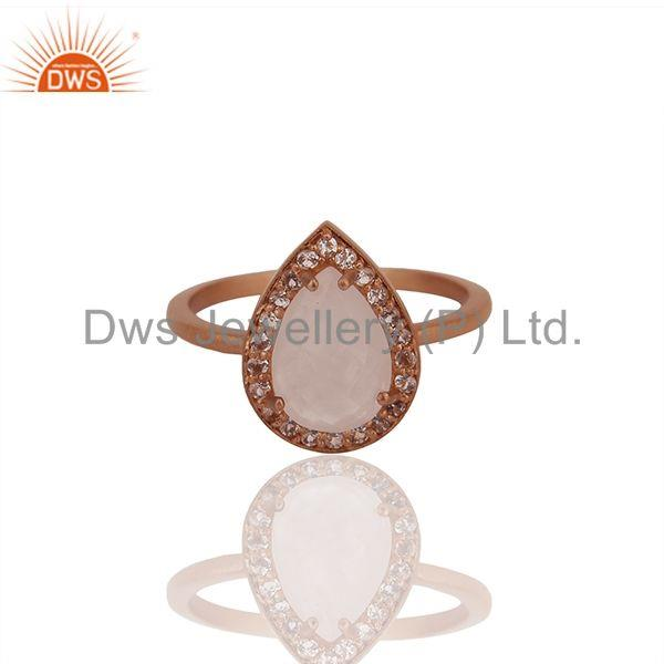 Exporter Rose Gold Plated Sterling Silver Rose Quartz Gemstone Ring Supplier