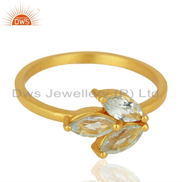 Exporter Blue Topaz 14K Yellow Gold Plated 925 Sterling Silver Ring Gemstone Jewelry