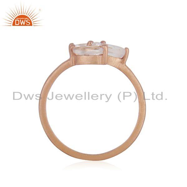 Exporter Leaf Rose Gold Plated Silver Crystal Quartz Gemstone Ring Jewelry
