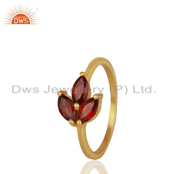 Exporter Handmade Gold Plated 925 Silver Garnet Gemstone Girls Rings Jewelry