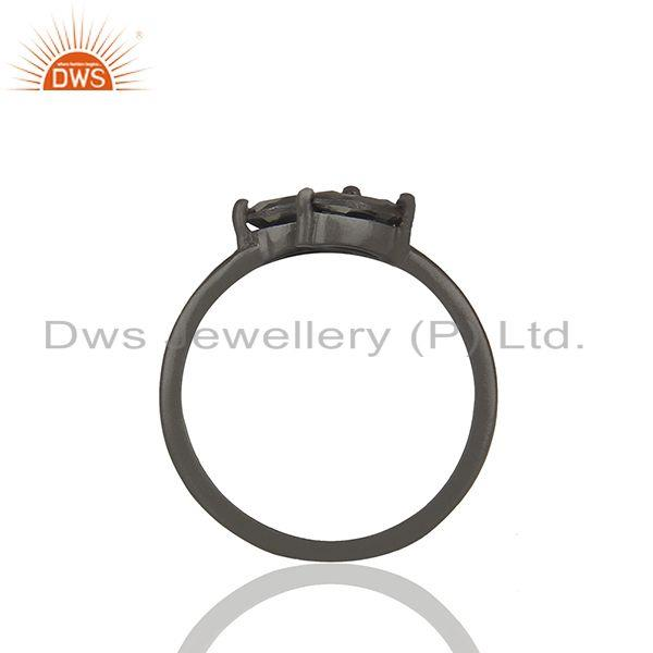 Exporter Leaf Design Hematite Gemstone Black Color 925 Silver Rings Jewelry