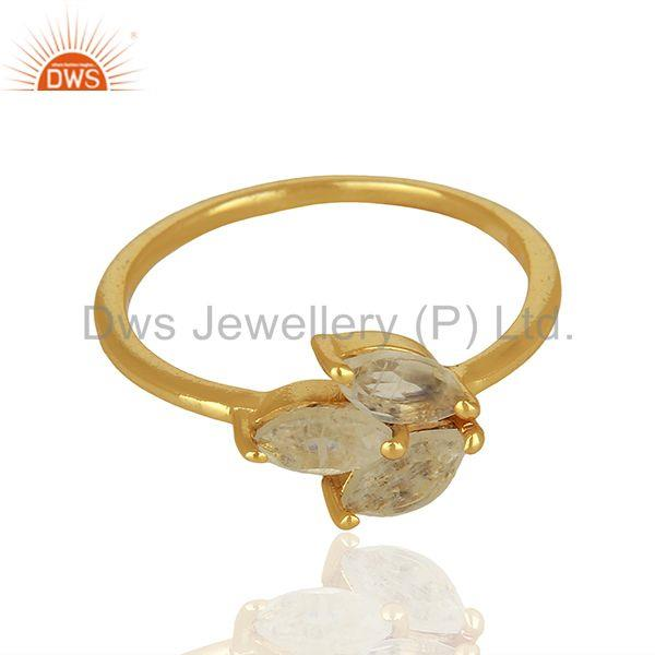 Wholesalers Solid 925 Silver Gold Plated Moonstone Rainbow Gemstone Rings Jewelry