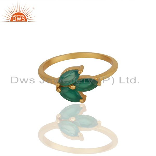 Exporter Green Onyx Gemstone 925 Silver Gold Plated Stackable Ring Wholesale