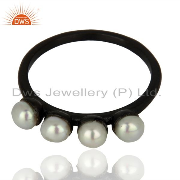 Exporter Pearl Band Black Oxidized 925 Sterling Silver Ring Gemstone Jewelry